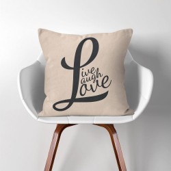 Live laugh love V.2  Linen Cotton throw Pillow Cover (PW-0149)