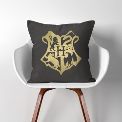 Harry Potter Hogwarts School Logo Crest  Linen Cotton throw Pillow Cover (PW-0156)