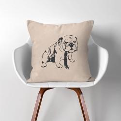 Bulldog V.2  Linen Cotton throw Pillow Cover (PW-0159)