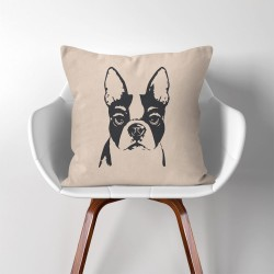 Boston Terriers Dog V.2  Linen Cotton throw Pillow Cover (PW-0161)