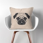 Pug Dog  Linen Cotton throw Pillow Cover