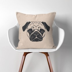 Pug Dog  Linen Cotton throw Pillow Cover (PW-0163)