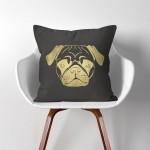 Pug Dog  Linen Cotton throw Pillow Cover