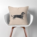 Dachshund Sausage Dog  Linen Cotton throw Pillow Cover