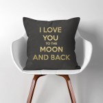 I Love You to The Moon and Back  Linen Cotton throw Pillow Cover