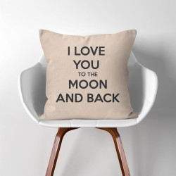 I Love You to The Moon and Back  Linen Cotton throw Pillow Cover (PW-0189)