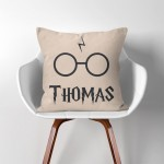 Personalized Name Harry Potter Inspiration  Linen Cotton throw Pillow Cover