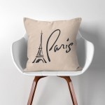 Paris eiffel tower  Linen Cotton throw Pillow Cover