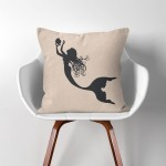 Mermaid  Linen Cotton throw Pillow Cover