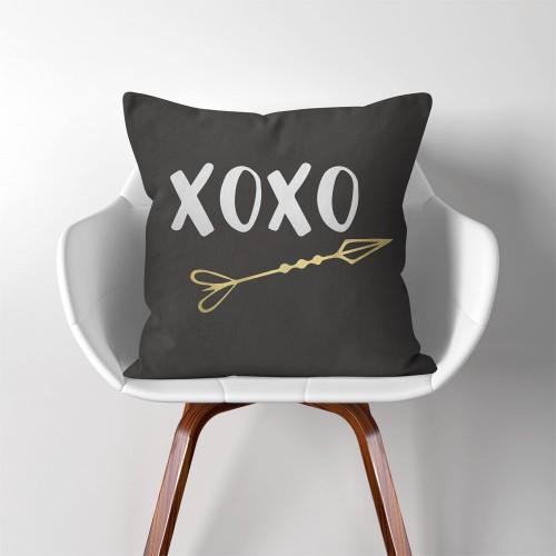 XO and Arrow  Linen Cotton throw Pillow Cover