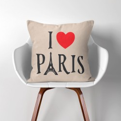 I love Paris  Linen Cotton throw Pillow Cover (PW-0196)