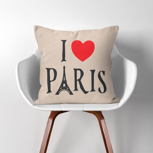 I love Paris  Linen Cotton throw Pillow Cover