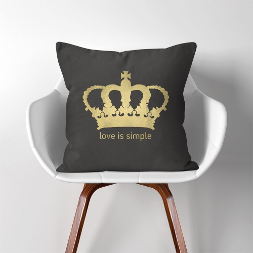 Crown love is simple  Linen Cotton throw Pillow Cover