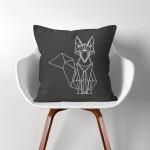 Geometric Polygon Fox  Linen Cotton throw Pillow Cover