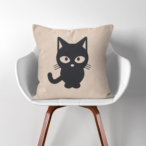 Cat  Linen Cotton throw Pillow Cover