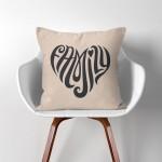 Family Heart  Linen Cotton throw Pillow Cover