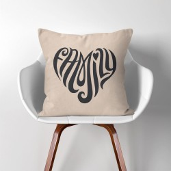 Family Heart  Linen Cotton throw Pillow Cover (PW-0200)