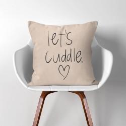 Let's cuddle Heart  Linen Cotton throw Pillow Cover (PW-0201)