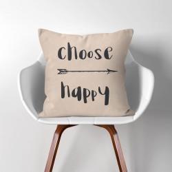 Choose happy  Linen Cotton throw Pillow Cover (PW-0204)
