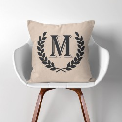 Personalized  Monogram V.4  Linen Cotton throw Pillow Cover (PW-0208)