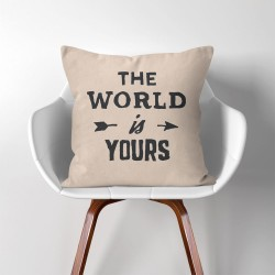 The world in yours  Linen Cotton throw Pillow Cover (PW-0212)