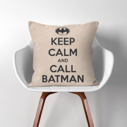 Keep Calm and Call Bat  Linen Cotton throw Pillow Cover (PW-0257)