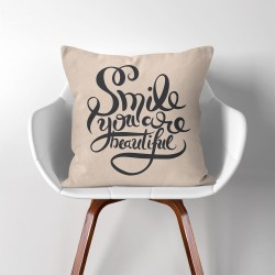 Smile you are beautiful  Linen Cotton throw Pillow Cover (PW-0265)