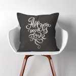 All you need is love  Linen Cotton throw Pillow Cover