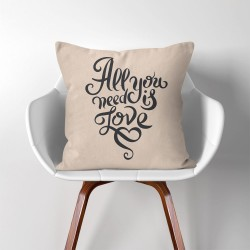 All you need is love  Linen Cotton throw Pillow Cover (PW-0267)