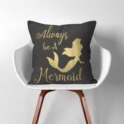 Always be a Mermaid  Linen Cotton throw Pillow Cover (PW-0276)