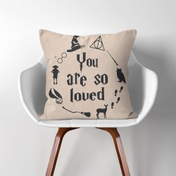 Harry Potter Hogwarts you are so loved  Linen Cotton throw Pillow Cover (PW-0280)