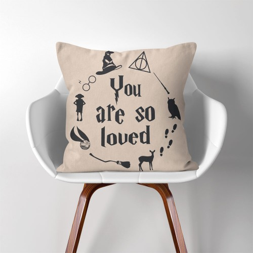 Harry Potter Hogwarts you are so loved  Linen Cotton throw Pillow Cover