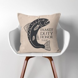 Tully Family Duty Honor Game of Thrones  Linen Cotton throw Pillow Cover (PW-0289)