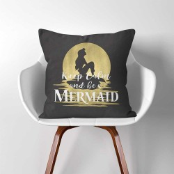 Keep Calm and be a Mermaid  Linen Cotton throw Pillow Cover (PW-0298)