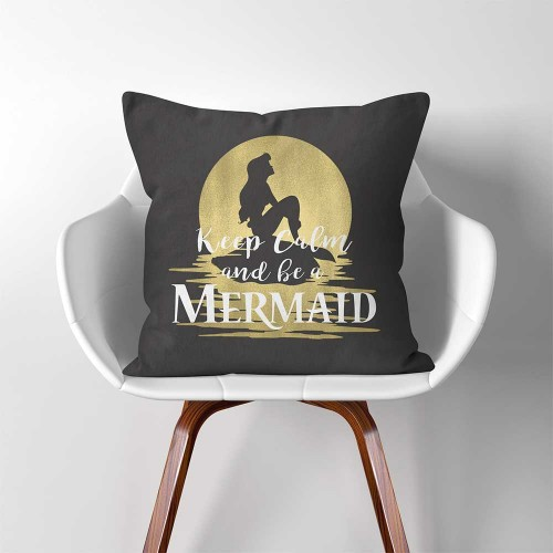 Keep Calm and be a Mermaid  Linen Cotton throw Pillow Cover