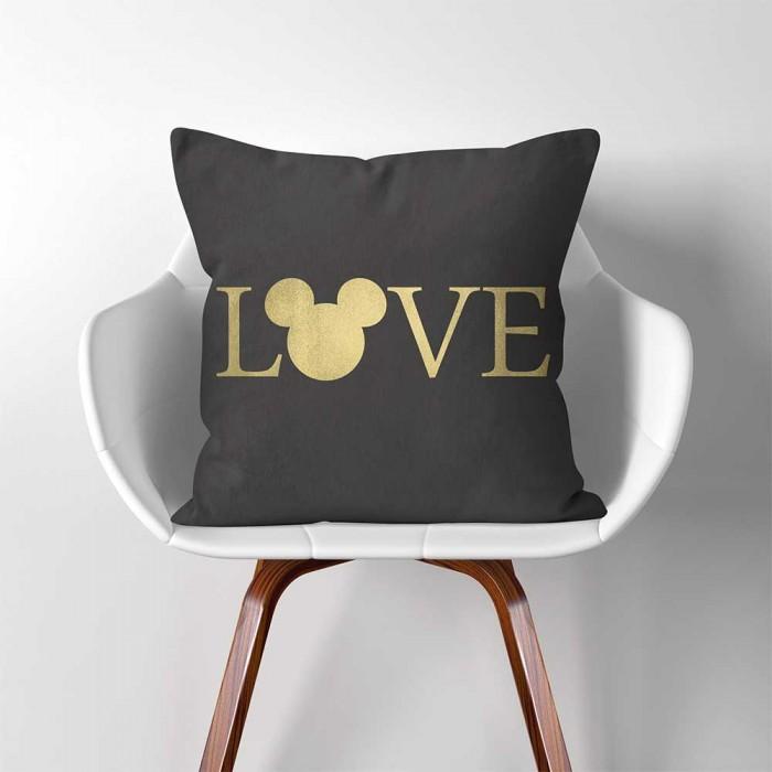 Love Disney Mickey Mouse Linen Cotton Throw Pillow Cover