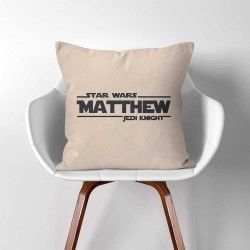 Personalized Name Star War Jedi Knight Linen Cotton throw Pillow Cover (PW-0308)