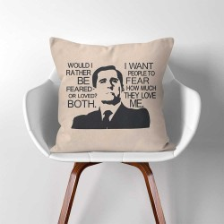 "ปลอกหมอนอิง ภาพ The Office TV SHOW Michael Scott ""Feared or Loved""  (PW-0313)"