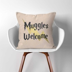 Muggles Welcome Harry Potter  Linen Cotton throw Pillow Cover (PW-0320)