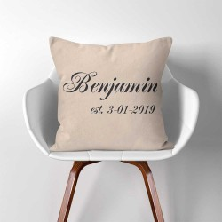 Personalized Name and Est Date Linen Cotton throw Pillow Cover (PW-0330)