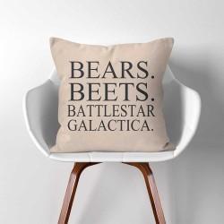 """Dwight Schrute The Office TV SHOW """"Bears. Beets. Battlestar Galactica""""  Linen Cotton throw Pillow Cover (PW-0358)"""