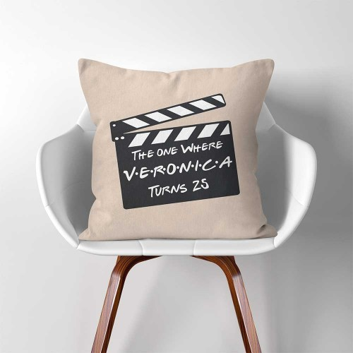 Personalized Birthday Gift CHANEE Film Slate Throw Pillow Cover