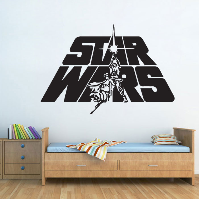 star wars logo vinyl wall decal. Black Bedroom Furniture Sets. Home Design Ideas