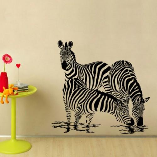 สติกเกอร์ติดผนัง Large Animals Zebras Wall Art