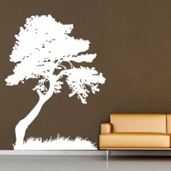 Tree Leaves Grass Decorate Vinyl Wall Art Decal (WD-0027)
