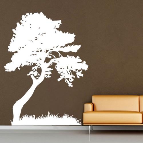 สติกเกอร์ติดผนัง รูปต้นไม้ Tree Leaves Grass Decorate Wall Tattoo