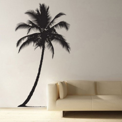 สติกเกอร์ติดผนัง ภาพ ต้นมะพร้าว Coconut Tree Wall Sticker