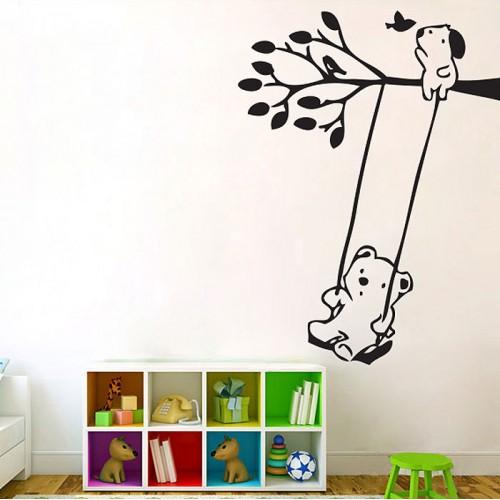 สติกเกอร์ติดผนัง  หมีห้อยบนต้นไม้ Bears on Tree Swing Wall Sticker