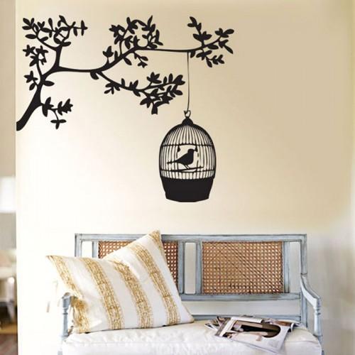 สติกเกอร์ติดผนัง ภาพ Bird Cage Hanging Tree Wall Sticker