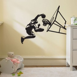 Basketball Slam Dunk Vinyl Wall Art Decal (WD-0053)